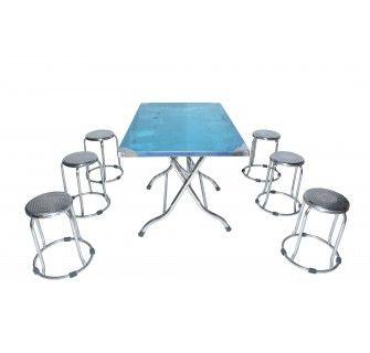 Bộ bàn ăn gấp chữ nhật đôn inox