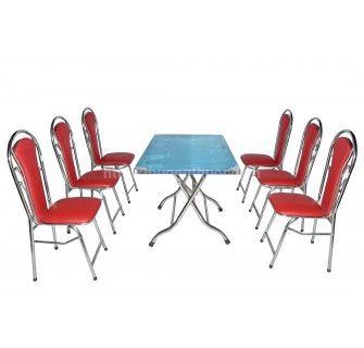 Bộ bàn ăn gấp chữ nhật ghế inox 4 bi
