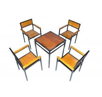 Bộ bàn ghế pallet có tay