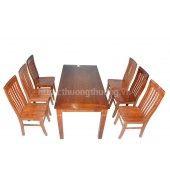 Bộ bàn ăn chữ nhật 6 ghế 7 nan xoan
