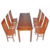 Bộ bàn ăn chữ nhật 6 ghế chữ thọ lệch xoan