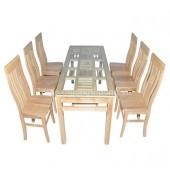 Bộ bàn ăn chữ nhật 6 ghế chữ thọ lệch gỗ sồi