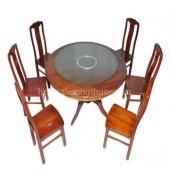 Bộ bàn ăn tròn 1.4m 6 ghế chữ thọ thường