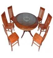 Bộ bàn ăn tròn 1.4m 6 ghế chữ thọ xoan