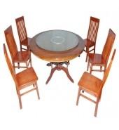 Bộ bàn ăn tròn 1.4m 6 ghế 7 nan thường