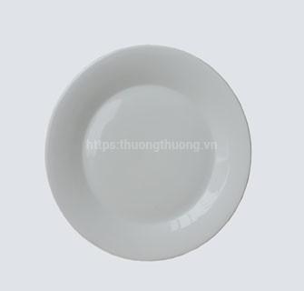 Đĩa tròn sứ cạn trắng