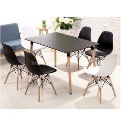Bộ bàn ghế cafe mặt nhựa chân gỗ chữ nhật