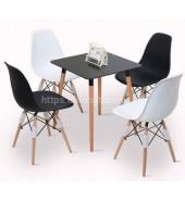 Bộ bàn ghế cafe nhựa chân gỗ